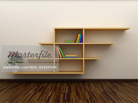 Bookshelf on the wall with books and dvd Stock Photo - Budget Royalty-Free, Image code: 400-05354304