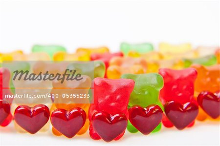 Army of gummy bears with red heart. Stock Photo - Budget Royalty-Free, Image code: 400-05355233