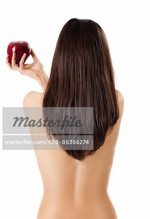 Topless female back to camera holding red apple in hand, isolated on white Stock Photo - Budget Royalty-Free, Image code: 400-05356274