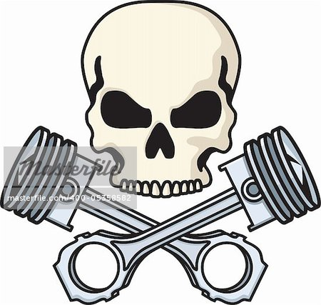 Illustration of a skull above crossed pistons. Available as easily editable and scalable vector illustration. Stock Photo - Budget Royalty-Free, Image code: 400-05358582