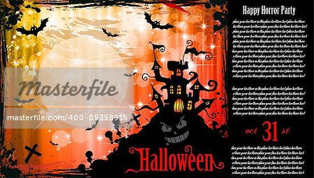 Suggestive Halloween Party Flyer for Entertainment Night Event with a lot of space for your text.and an horror caslte in the background