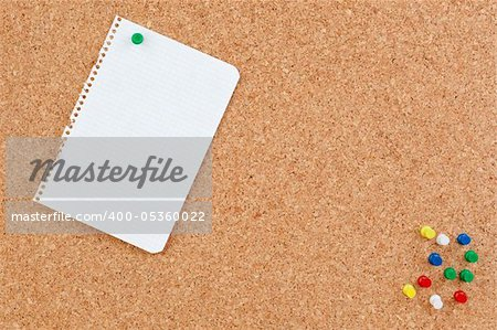 Photo of corkboard with blank paper punch Stock Photo - Budget Royalty-Free, Image code: 400-05360022