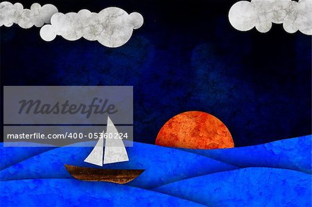 sea, sun, sailboat and clouds Stock Photo - Budget Royalty-Free, Image code: 400-05360224