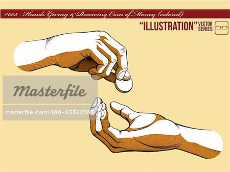 A vector of two hands, one giving coin of money and the other receiving it. Symbolizing the concept of generosity, charity, and helping others.  Available as a Vector in EPS8 format that can be scaled to any size without loss of quality. Stock Photo - Budget Royalty-Free, Image code: 400-05362383