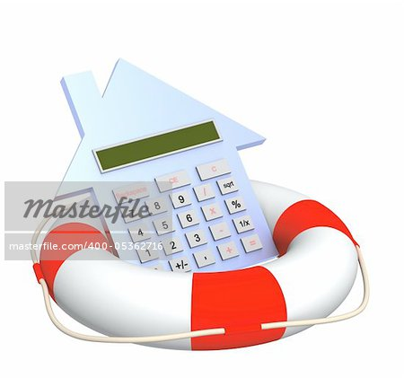 Conceptual image - calculation of the domestic finance. Calculator and lifebuoy. Objects isolated over white