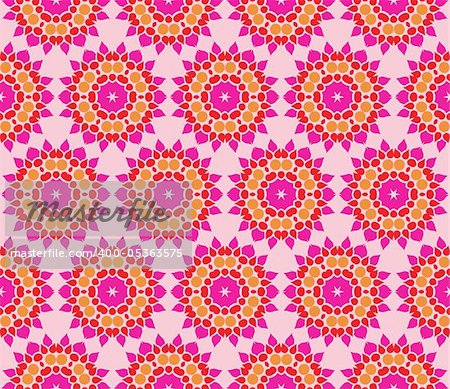 Stylish design with seamless damask flowers on an (editable) pink background