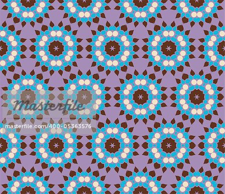 Stylish design with seamless damask flowers on an (editable) purple background