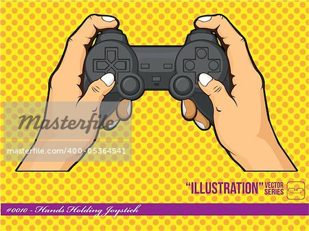 A vector of hands holding a joystick, representing the lifestyle of nowadays children that play with their console often. Available as a Vector in EPS8 format that can be scaled to any size without loss of quality. Good for many uses & application, colors easily changed. Stock Photo - Budget Royalty-Free, Image code: 400-05364541