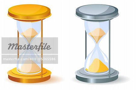 Realistic sand glass isolated. Two variants of color. Stock Photo - Budget Royalty-Free, Image code: 400-05365586