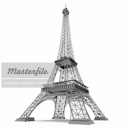 Eiffel Tower in Paris isolated on white background Stock Photo - Budget Royalty-Free, Image code: 400-05368068