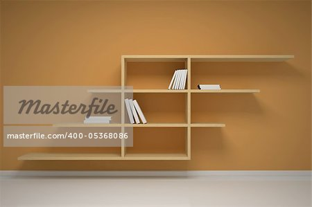 Bookshelf on the wall with books and dvd Stock Photo - Budget Royalty-Free, Image code: 400-05368086
