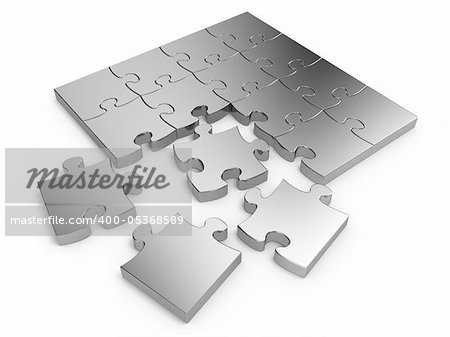 Jigsaw puzzle isolated on white background