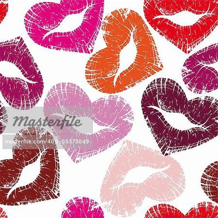 Print of heart lips, seamless kiss valentine background, cute grange vector illustration.Element for design