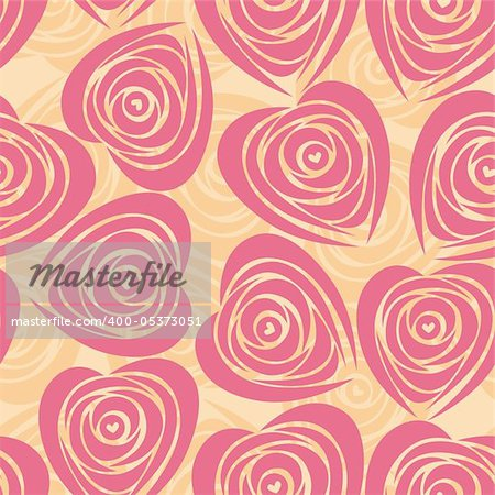 Pink art vector heart, rose pattern. Seamless flower background pattern. Fabric texture. Floral vintage design. Pretty cute wallpaper. Romantic cartoon feminine filigree tile.