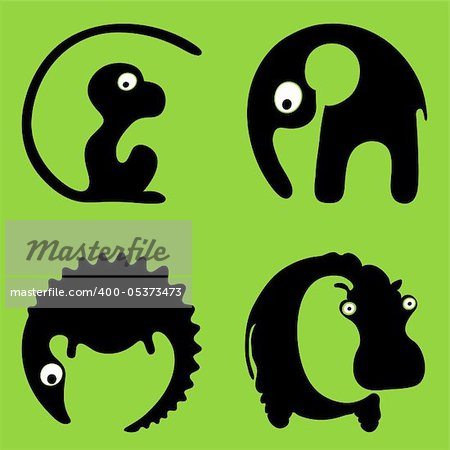 A crocodile a hippo a monkey an elephant. Inscribing in a circle wild animals round signs or logos. Stock Photo - Budget Royalty-Free, Image code: 400-05373473