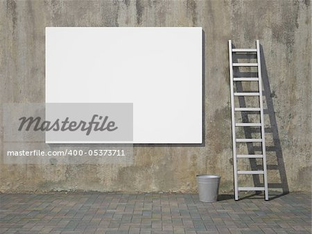 Blank advertising billboard on dirty grunge wall Stock Photo - Budget Royalty-Free, Image code: 400-05373711