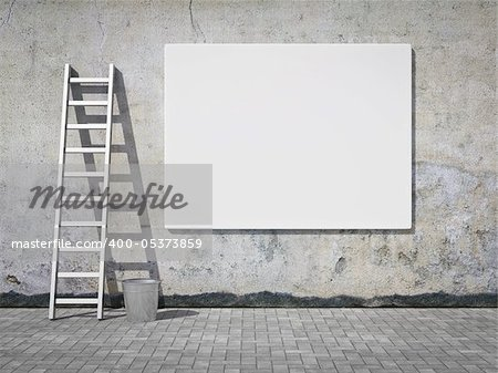 Blank street advertising billboard on dirty grunge wall Stock Photo - Budget Royalty-Free, Image code: 400-05373859