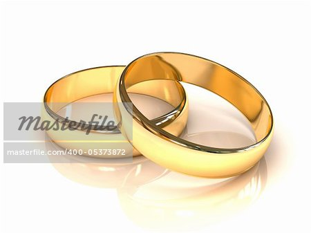 Golden wedding rings  isolated on white background Stock Photo - Budget Royalty-Free, Image code: 400-05373872