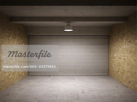 Empty garage with metallic roll up door Stock Photo - Budget Royalty-Free, Image code: 400-05373901