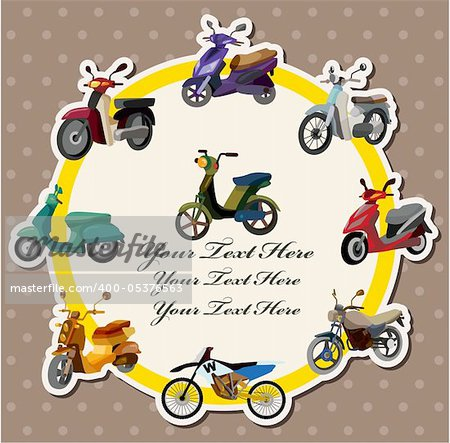 cartoon motorcycle card Stock Photo - Budget Royalty-Free, Image code: 400-05376563