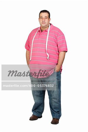 Fat man with a tape measure isolated on white background Stock Photo - Budget Royalty-Free, Image code: 400-05376832