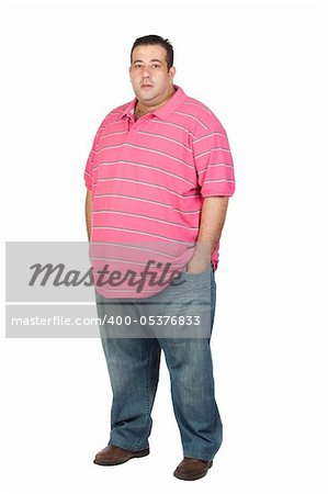 Fat man with pink shirt isolated on white background Stock Photo - Budget Royalty-Free, Image code: 400-05376833