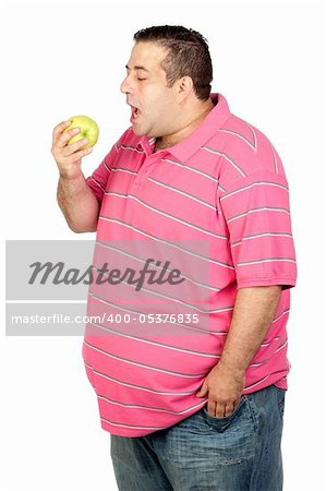 Fat man eating a apple isolated on white background Stock Photo - Budget Royalty-Free, Image code: 400-05376835