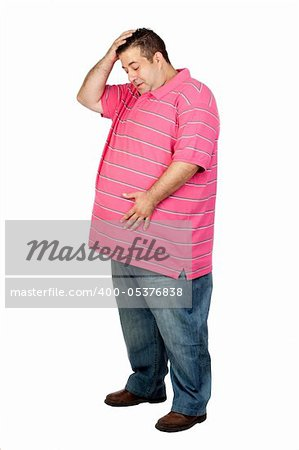Worried fat man with pink shirt isolated on white background Stock Photo - Budget Royalty-Free, Image code: 400-05376838