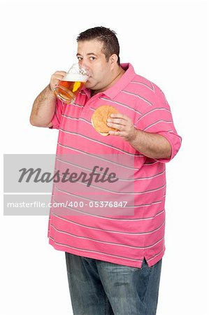 Fat man drinking a jar of beer and eating hamburger isolated on white background Stock Photo - Budget Royalty-Free, Image code: 400-05376847