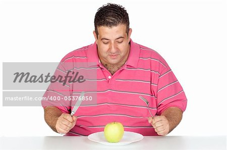 Fat man eating a apple isolated on white background Stock Photo - Budget Royalty-Free, Image code: 400-05376850