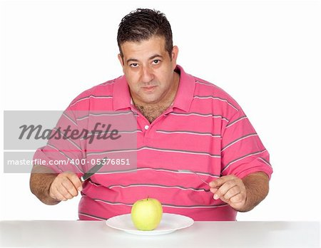 Fat man eating a apple isolated on white background Stock Photo - Budget Royalty-Free, Image code: 400-05376851