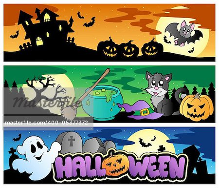 Halloween banners set 4 - vector illustration.