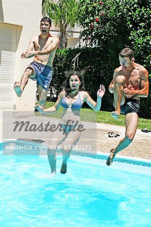 People jumping to swimming pool. Stock Photo - Budget Royalty-Free, Image code: 400-05381121