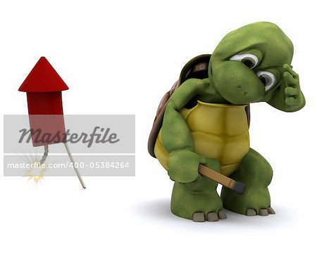 3d render of Tortoise lighting a firework