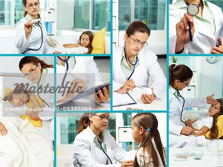 Collage of clinician and sick girl in hospital
