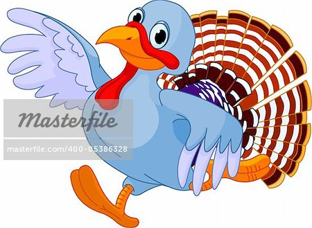 Cartoon turkey running, isolated on white background Stock Photo - Budget Royalty-Free, Image code: 400-05386328