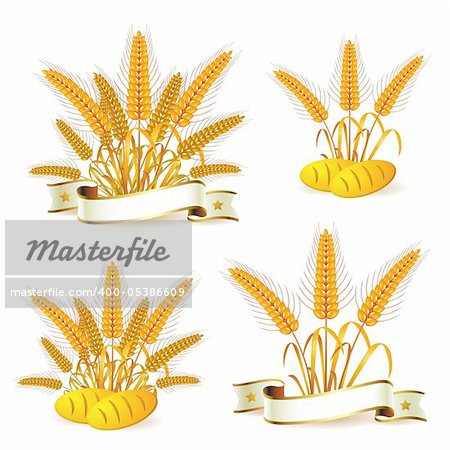 Wheat ears with ribbon and bread Stock Photo - Budget Royalty-Free, Image code: 400-05386609