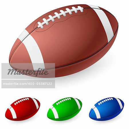 Realistic American football. Illustration on white background.