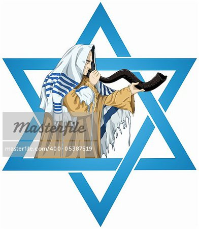 A vector illustration of a Rabbi with Talit blows the shofar with the star of David for the Jewish holiday Yom Kippur. Stock Photo - Budget Royalty-Free, Image code: 400-05387519