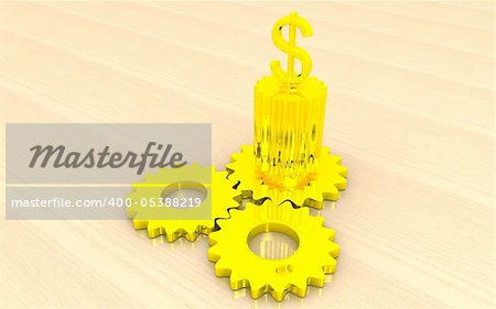3d dollar sign top of the gears
