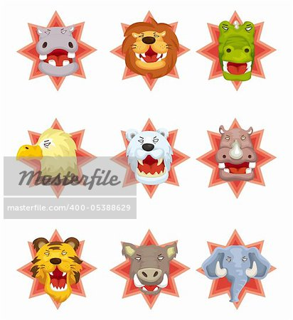 cartoon angry animal head icons Stock Photo - Budget Royalty-Free, Image code: 400-05388629