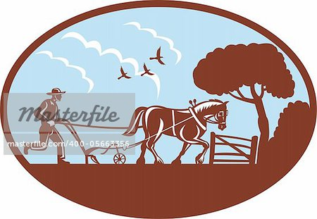 illustration of a farmer and horse plowing field retro style.