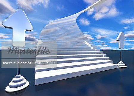 3d image of stairway to heaven with arrows