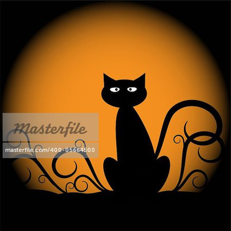 Spooky scary halloween cat with moon Stock Photo - Budget Royalty-Free, Image code: 400-05664500