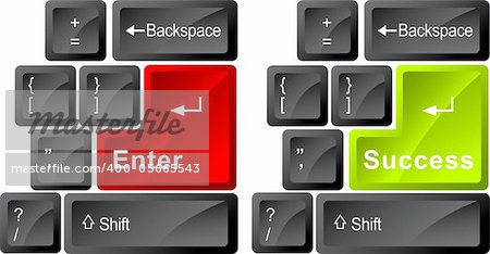 Illustration art computer key board with isolated background