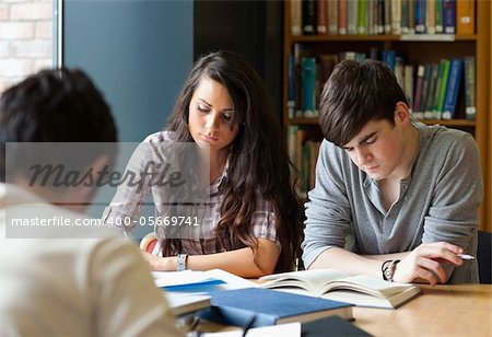 Students preparing the examinations in a library Stock Photo - Budget Royalty-Free, Image code: 400-05669741