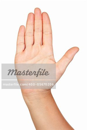 Open hand isolated on white background Stock Photo - Budget Royalty-Free, Image code: 400-05670206