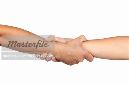 Handshake of friendship isolated on white background Stock Photo - Budget Royalty-Free, Image code: 400-05670209
