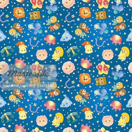 cute zodiac symbols seamless pattern