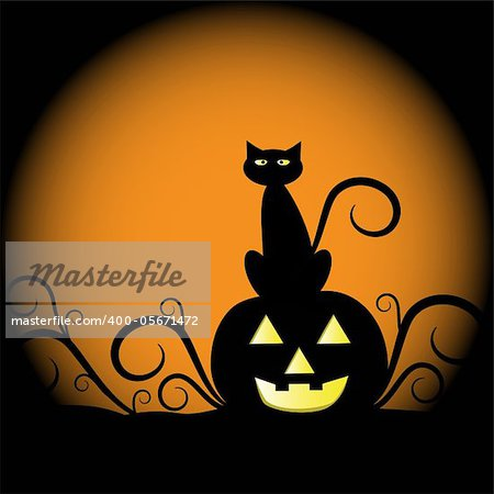 Spooky scary halloween cat and pumpkin Stock Photo - Budget Royalty-Free, Image code: 400-05671472